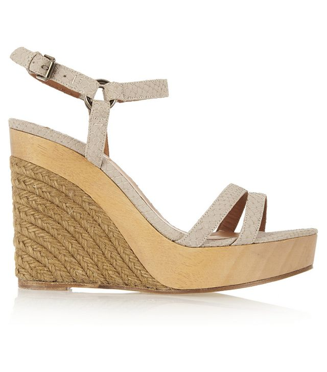 Lanvin Snake-Effect Leather Espadrille Wedge Sandals