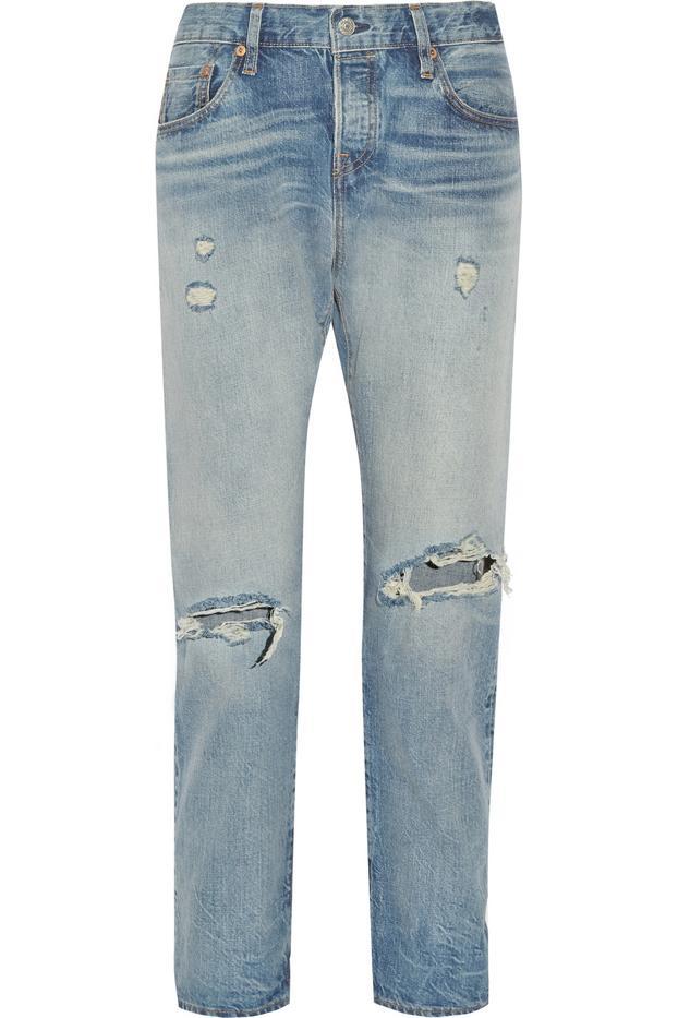 Levi's 501 CT Distressed Mid-Rise Straight Leg Jeans