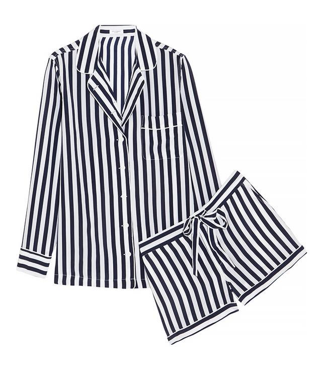 Equipment Lilian Striped Washed-Silk Pajama Set