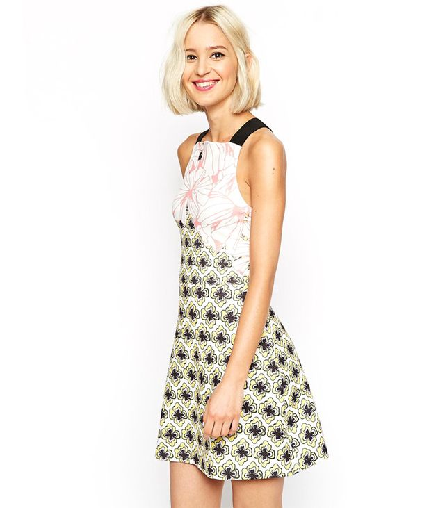 ASOS A Line Skater Dress in Texture in Large Floral Print