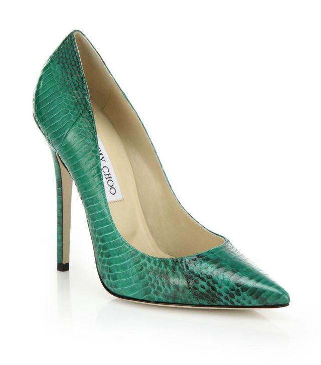 Jimmy Choo Anouk Snakeskin Point Toe Pumps