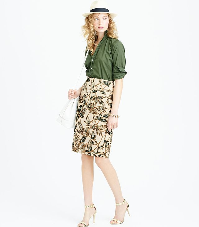 J.Crew Gold Foil Leaf Pencil Skirt