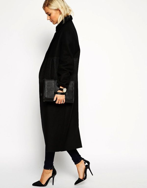 ASOS WHITE Stripe Panel Longline Coat