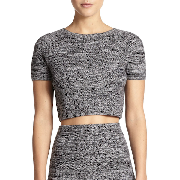 Alice + Olivia Solange Herringbone Knit Cropped Top