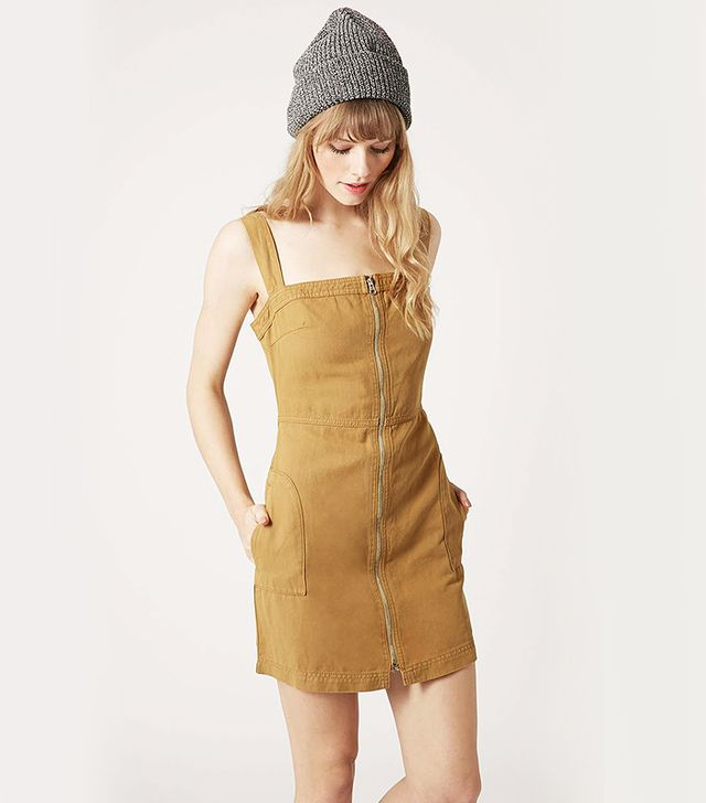 Topshop Zip Through Pinafore Dress