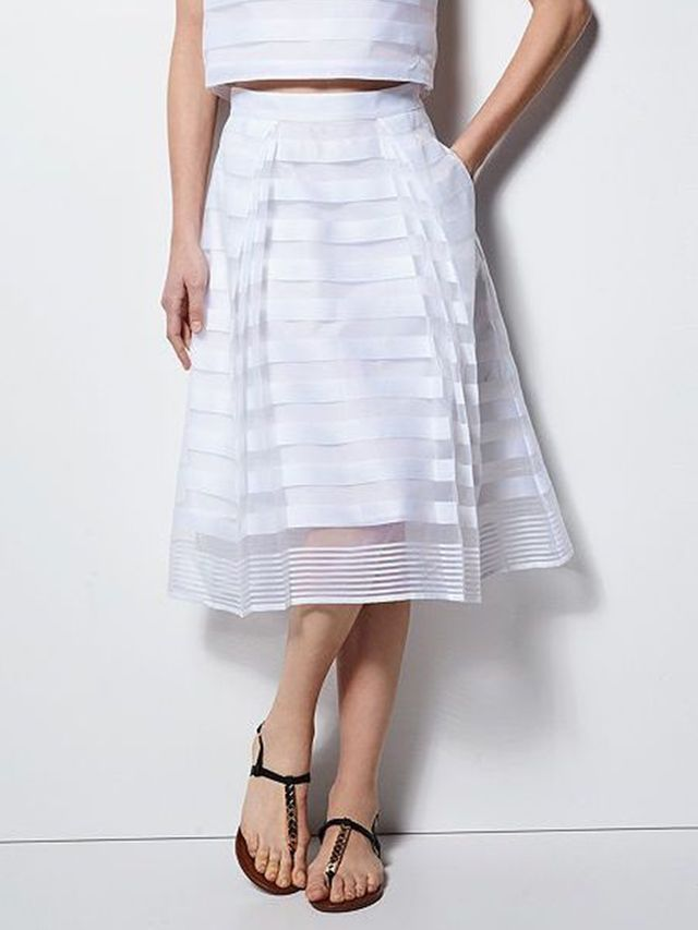 MILLY for DesigNation Striped Organza Midi Skirt