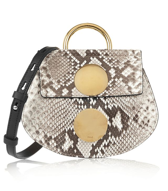 Chloé Faye Mini Python and Leather Shoulder Bag