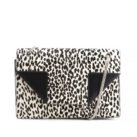 Black Leather and Printed Calf Hair Medium Betty Bag