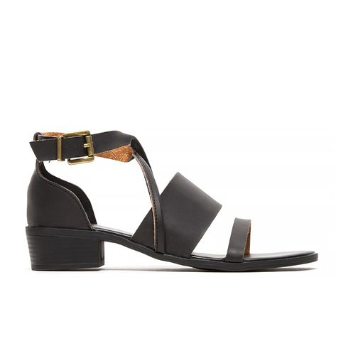 Block Heel Leather Sandal