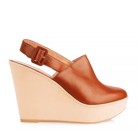 French Leather Wedge Clogs