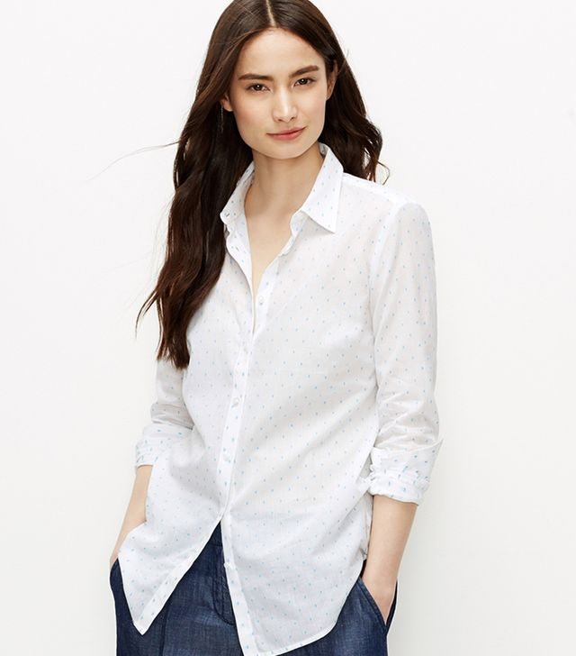 Ann Taylor Diamond Foulard Perfect Shirt