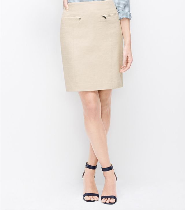 Ann Taylor Textured Zip Pocket Skirt