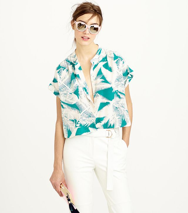 J.Crew Cropped Silk Popover Shirt