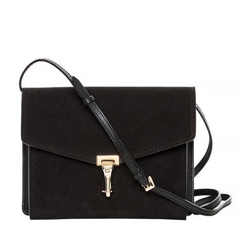 Small Black Nubuck Leather Crossbody Bag