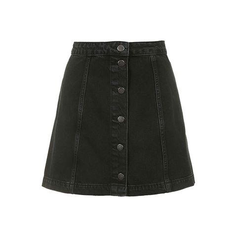 Moto Black Button Through A-Line Skirt