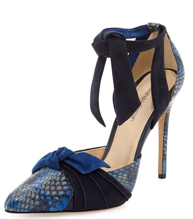 Alexandre Birman Cobra and Suede Pointy-Toe Ankle-Wrap Pump