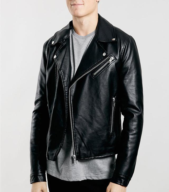 Topman Black Faux Leather Biker Jacket