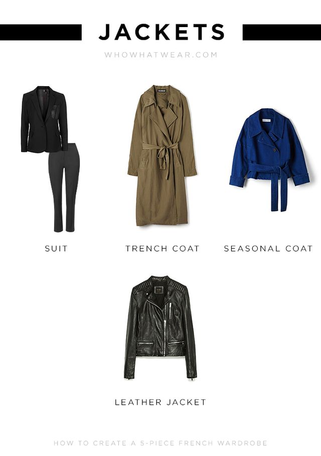 Suit: Topshop Tailored Suit Jacket ($163) and Tailor Suit Trousers ($90) Trench Coat: H&M Satin Trenchcoat ($90) Seasonal Coat: Assembly Femme Denim Jacket ($495) Leather Jacket:...
