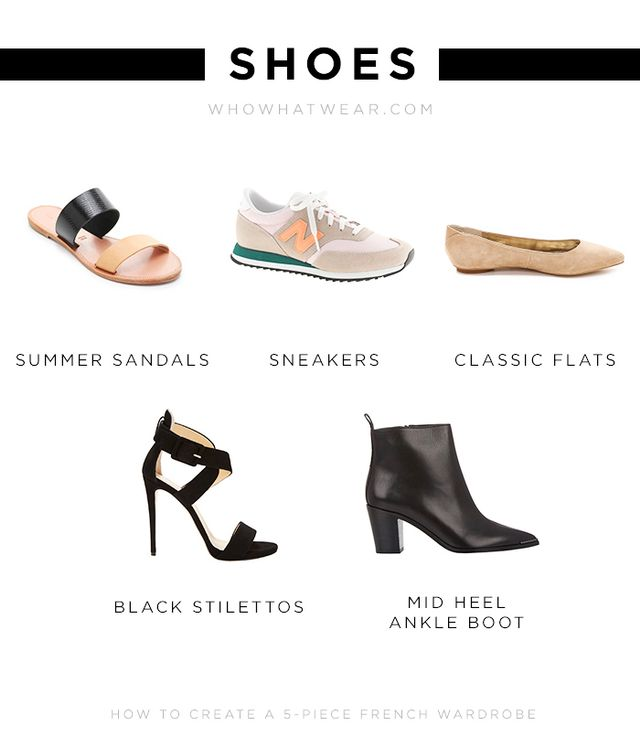 Summer Sandals: Joie A La Plage Sable Two Band Sandals ($125)  Sneakers: New Balance for J.Crew 620 Sneakers ($80) Classic Flats: Sam Edelman Colleen Suede Ballet Flats ($88) Black...
