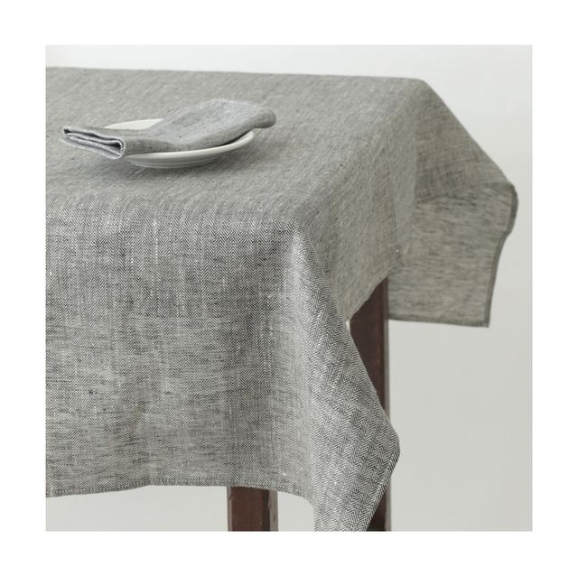 Fog Linen Black Herringbone Tablecloth