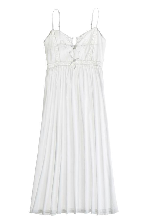 Pour Les Femmes Long Cotton Solid White Nightgown