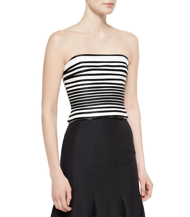 Halston Heritage Striped Strapless Crop Top