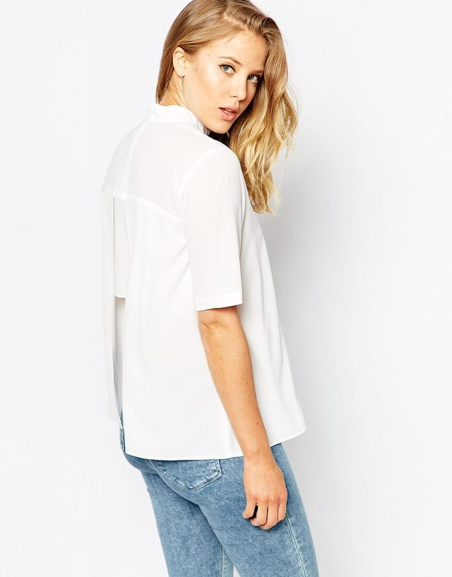 ASOS High Neck Split Back T-Shirt