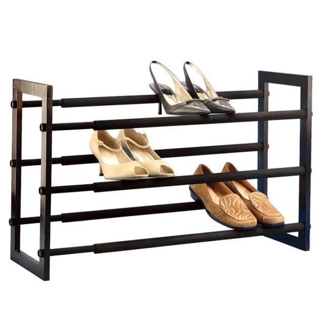 The Container Store Walnut Three-Tier Shoe Rack