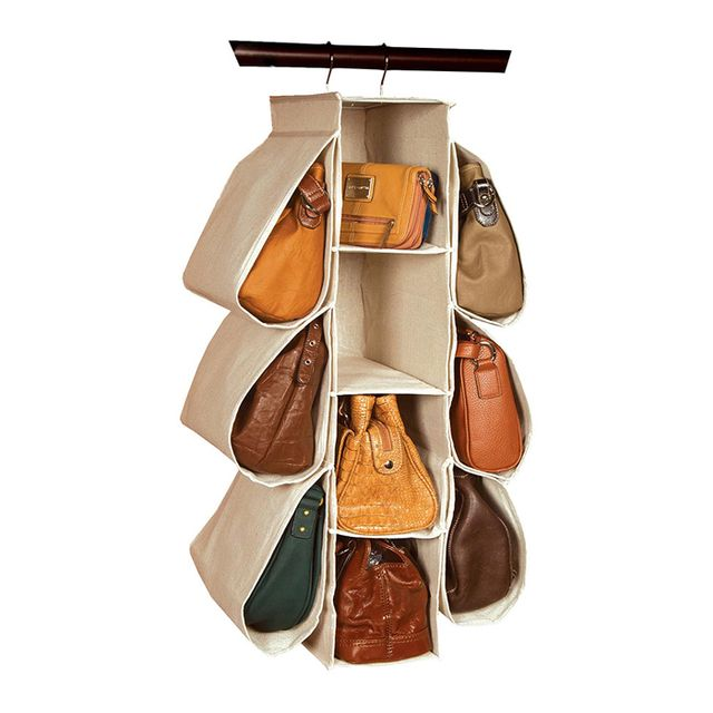 Richards Homewares Natural Canvas Hanging Handbag Organiser