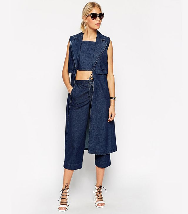 ASOS Denim Sleeveless Trench Coat