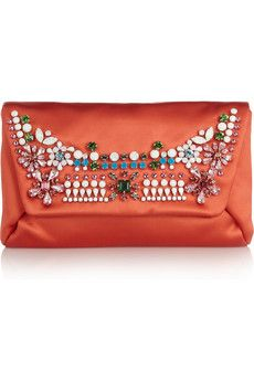 Lanvin Mai Tai Crystal-Embellished Satin Clutch
