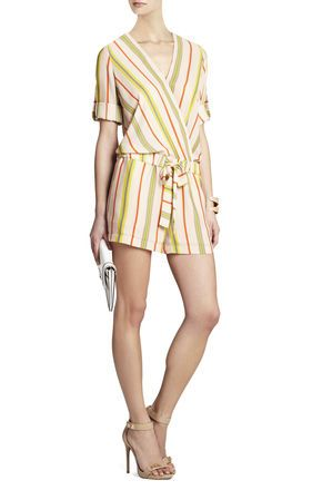 BCBGMaxazria Kelly Wrap-Top Romper