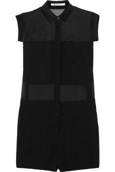 T by Alexander Wang Paneled Silk Crepe de Chine and Silk-Chiffon Playsuit