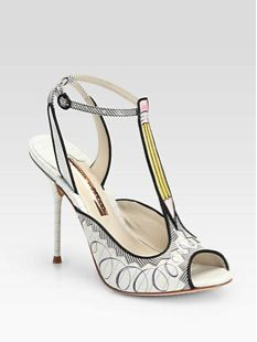 Sophia Webster  Dixie Doodle Pencil-Print Leather T-Strap Heels