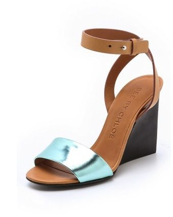 See by Chloe  See by Chloe Metallic Wedge Sandals