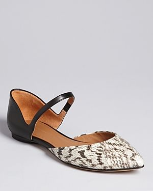 Sigerson Morrison Pointed Toe Mary Jane Flats