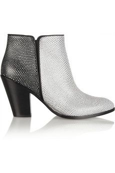 Giuseppe Zanotti   Two-Tone Embossed Leather Ankle Boots