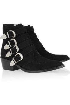 Toga  Buckled Suede Ankle Boots