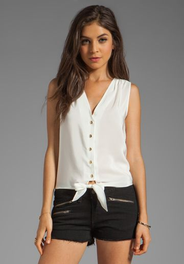 Amanda Uprichard  Sleeveless Tie Front Top