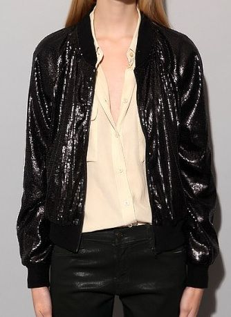 Pixie Market  Black Sequin Bomber Jacket