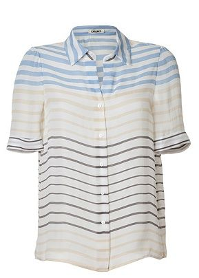 L'Agence  Cream-Multi Striped Silk Shirt