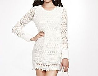 Guess Long-Sleeve Lace Dress in True White