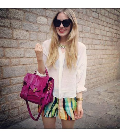Carolineengman is wearing: By Malina shorts, Proenza Schouler bag, Zara shirt, Celine sunglasses.