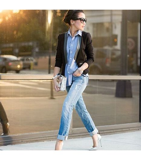 Wendyslookbook is wearing: Jimmy Choo heels, Love Zooey blazer, Proenza Schouler bag, J Brand jeans, Maison Scotch shirt.