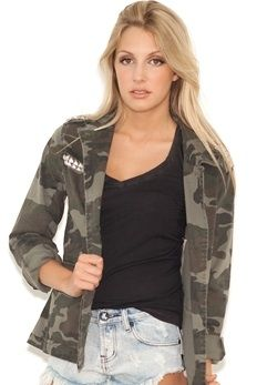 Blu Pepper Studded Military Jacket in Camo