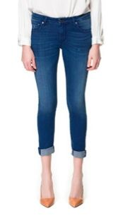 Zara Cuffed Jeans With Detailing On The Hem