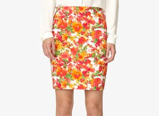 Forever 21 Floral Print Pencil Skirt