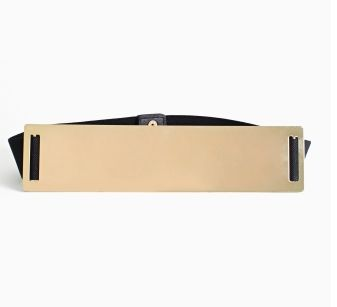 Nasty Gal Black Belt With Faceted Gold Bar