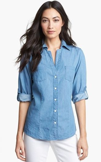 Foxcroft Roll Sleeve Denim Shirt