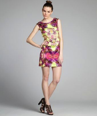 Suzi Chin  Lime and Magenta Printed Sleeveless Sheath Dress